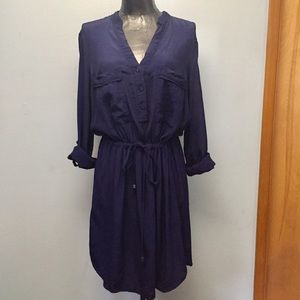 Dynamite Navy Blue Drawstring Waist Dress Sz M